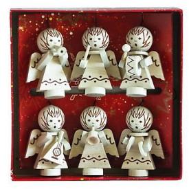 Dřevěná dekorace - Vánoční ozdoby andělíčci