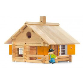 Dřevěná stavebnice Jeujura - 135 dílů - Srub