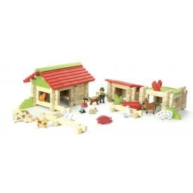 Dřevěná stavebnice Jeujura - 120 dílků - Farma