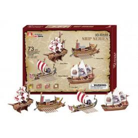 Třívrstvé pěnové 3D puzzle  - historické lodě 4ks - Poškozená krabička