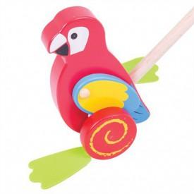 Bigjigs Toys Dřevěný jezdík Papoušek