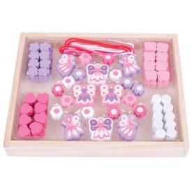 Bigjigs Toys Dřevěné hračky - Navlékací korálky Mašličky