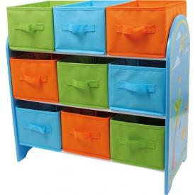 Dřevěná úložná police na hračky s 9 boxy