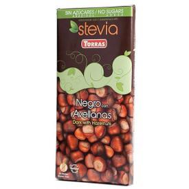 Torras Bezlepková čokoláda STÉVIA s lískovými oříšky bez přidaného cukru 125 g