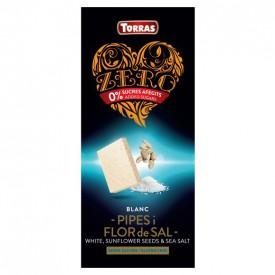 Torras ZERRO Bezlepková bílá čokoláda se slunečnicí a mořskou solí bez přidaného cukru 125 g