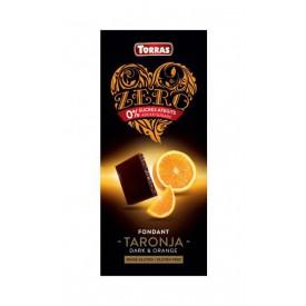 Torras ZERRO Bezlepková hořká čokoláda s pomerančem bez přidaného cukru 125 g