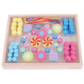 Bigjigs Toys Dřevěné hračky - Navlékací korálky Candy
