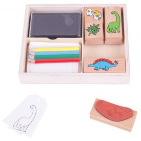 Bigjigs Toys Dřevěné razítka s pastelkami Dinosauři