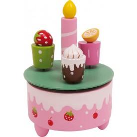 Dřevěné hračky - Hrací skříňka - Narozeninoé dobroty