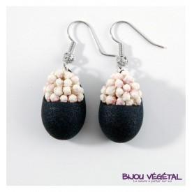 Živé šperky - Náušnice Slza černé s trvalými bílými květy
