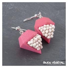 Živé šperky - Náušnice Diamant růžové s trvalými bílými květy
