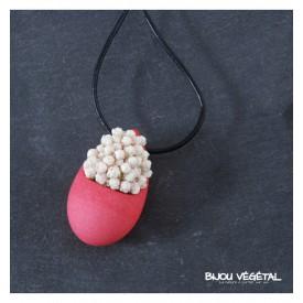 Živé šperky - Náhrdelník Slza růžový s trvalými bílými květy