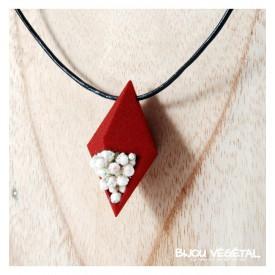 Živé šperky - Náhrdelník Diamant červený s trvalými bílými květy 32236
