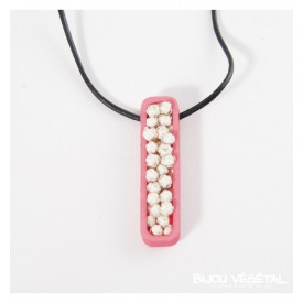 Živé šperky - Náhrdelník Jardiniere růžový s trvalými bílými květy