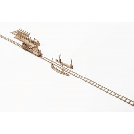 Ugears dřevěná stavebnice 3D mechanické Puzzle - Železniční přejezd s kolejemi