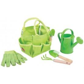 Bigjigs Toys - Zahradní set nářadí v plátěné tašce zelený