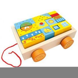 Bino - Dřevěný vozík s kostkami, 19 ks