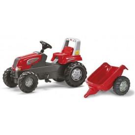 Rolly Toys Šlapací traktor Rolly Juniors vlečkou červený akční