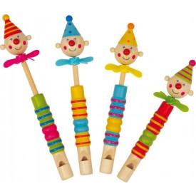 Sada Dřevěná píšťalka s klaunem 4 ks