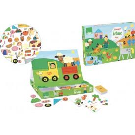 Vilac - Dřevěná hra- Skládací magnetická tabulka Farma