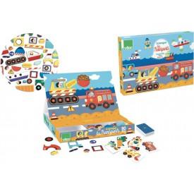 Vilac - Dřevěná hra- Skládací magnetická tabulka Doprava