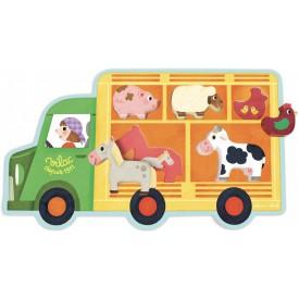 Vilac - Dřevěné vkládací puzzle - Farmářský vůz
