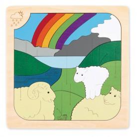 HAPE dřevěné puzzle - Divoká zvířátka a počasí