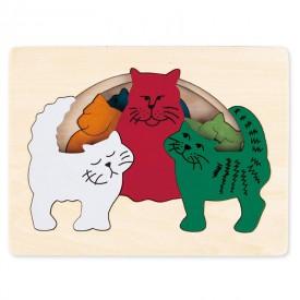 HAPE dřevěná vkládačka - Kočky