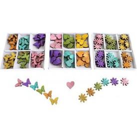 Dětské dřevěné dekorace - 3 Sady barevných dekorací -  srdíčka, motýlci, květinky