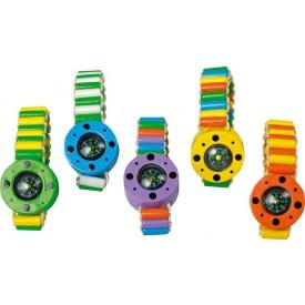 Dřevěný barevný náramek - kompas 5 ks