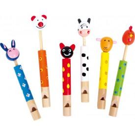 Sada - Dětská dřevěná píšťalka - Zvířátka 6 ks