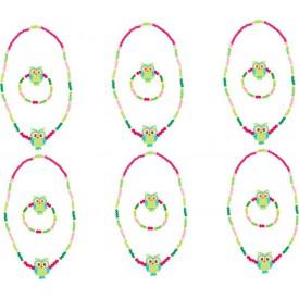 Dřevěné šperky se sovou, zelené 2 ks
