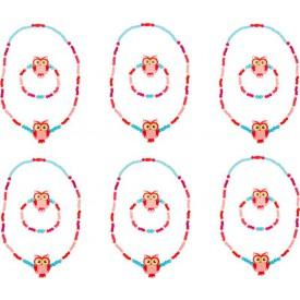 Dřevěné šperky se sovou, růžové 2 ks