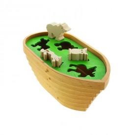 CEEDA CAVITY Dřevěná vkládací loď se zvířátky Noemova archa