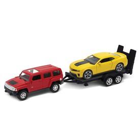 Welly - Hummer H3 (červený) a Chevrolet a Camaro ZL1 (žlutý) autopřívěs model 1:34