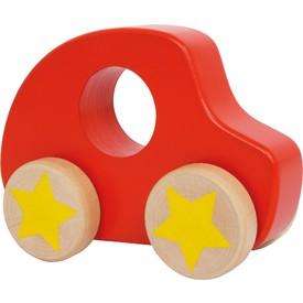 Dřevěné autíčko červené s hvězdou
