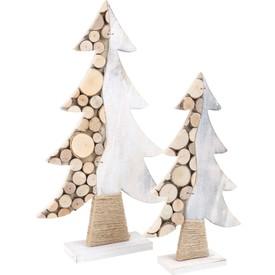 Sada Dřevěná vánoční dekorace stromeček 2 ks