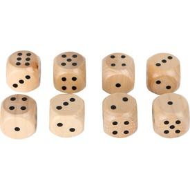 Sada přírodních dřevěných herních kostek 8 ks