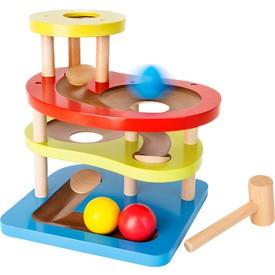 Dřevěná barevná kuličková dráha s kladívkem