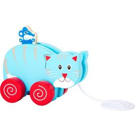Dřevěná tahací kočka s  myší