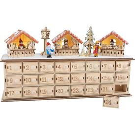 Dřevěný adventní kalendář - Vánoční trhy