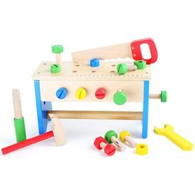 Dřevěný pracovní stůl a box s nářadím 2v1