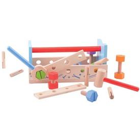 Bigjigs dřevěné hračky - Ponk a přepravka na nářadí 2v1