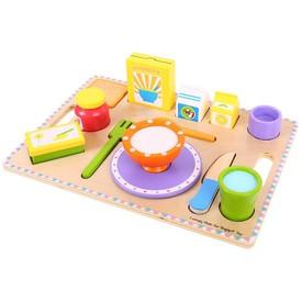 Dřevěné potraviny - Snídaně na podnose - puzzle 14 dílů