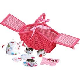 Košík na piknik s plechovým nádobím