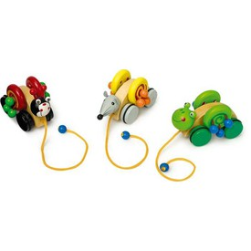 Dřevěné hračky - Tahací hračka na provázku 1ks
