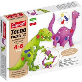 Quercetti Tecno Puzzle 3D - brontosaurus a T-Rex