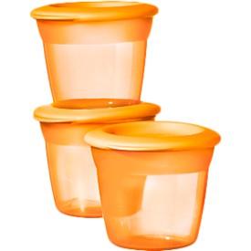 TOMMEE TIPPEE Kelímky na jídlo s víčkem 3 ks Basic oranžové