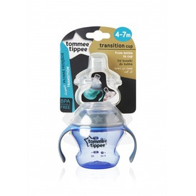 TOMMEE TIPPEE Přechodný hrnek se savičkou a pítkem 150 ml modrý