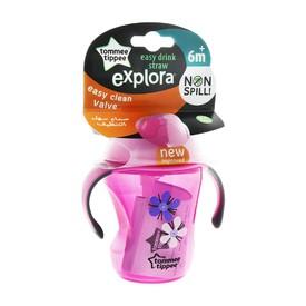 TOMMEE TIPPEE Netekoucí hrnek s brčkem Explora Easy drink 230 ml růžový